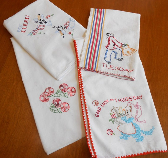 Kitchen tea towels embroidery cherries days of week dow