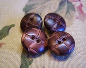 "Vintage 3/4"" Dark Brown ""Leather"" Look Coat Buttons Set of 4 (1508)"