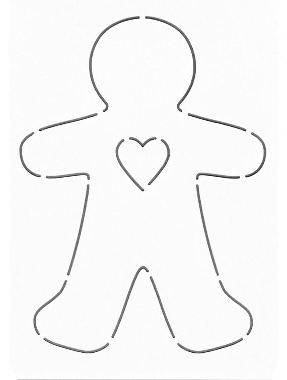 NOTION Stencil Template Gingerbread Man Heart Layer Cake – Gingerbread Man Template