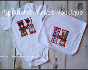Boys Monogram Large Letter Romper and Burp Cloth Layette Take Home Outfit Plaid Madras Change Fabric Baby Gift Take Home Layette