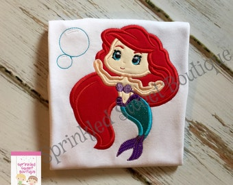 Princess Sweet Ariel Little Mermaid Appliqué Girls Monogram Shirt Perfect for a Disney Can Chanfe Hair Color Birthday Shirt