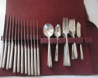 Vintage Rogers Oneida Ltd Flatware Set Timeless Styling by Temple Stuart 54 Silver Plate Flatware Set Knives Forks Spoons Mid Century