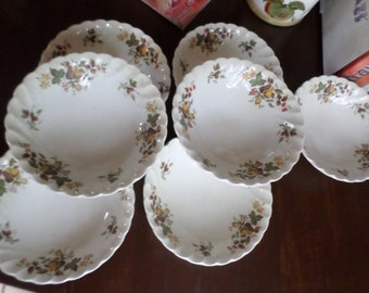 11 Pieces-Vintage Myott Staffordshire England-Autumn Harvest-Cereal Bowls/Berry/Fruit Dishes Lot