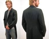 Victorian Frock Coat, Black Tailcoat, Wool and Silk Cutaway Coat