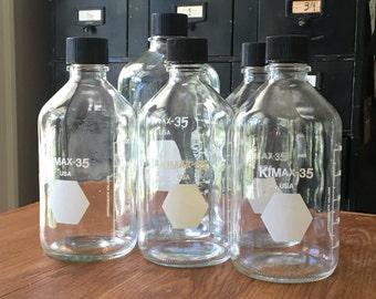 Vintage Chemistry Lab Bottles  •  Kimax 35  •   1000 ml