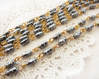 Vintage Gray Baroque Pearl Beaded Rosary Chain 4x7mm Long Plastic Beads Brass Links – 2 Feet