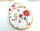 CLOSING SALE - Suck It Embroidery Christmas Hoop Art - Hand Embroidered Vintage Handkerchief Home Decor for the Holiday Humbug / Poinsettia