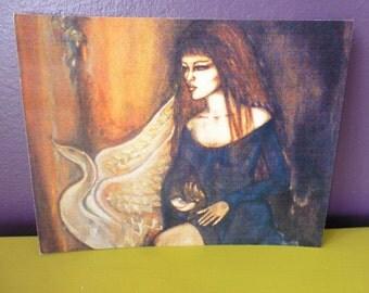Leda and the Swan Mystical Card, Art Print, Fantasy, Magic, Greeting, Illustration, Art, Mystic, Elven, Steampunk, Gothic, Fairy, Tale