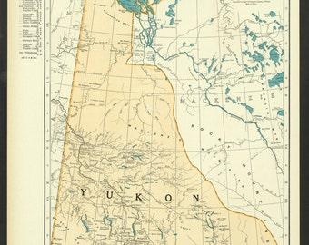 Vintage Map Yukon Canada Original 1937