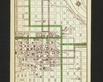 Vintage Map Omaha Nebraska Original 1951