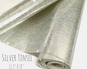 "Silver Tinsel Wool Felt - Silver Felt - Silver Wool Felt - 11.5"" X 18""- Metallic Felt"