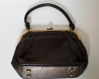 Vintage Chocolate Brown Deerskin Leather Purse Top Handle Handbag
