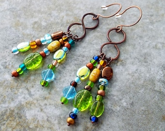 Boho Copper Earrings Czech Glass Dangles Drops Beachy Blue Brown and Greens