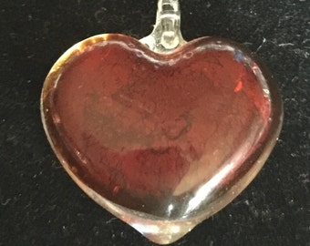 Glass Heart Necklace Pendant