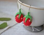 Earrings Strawberries  Sweet strawberry earring Clip on earrings Berry earrings Summer spring jewelry Girl tiny jewelry Red  green