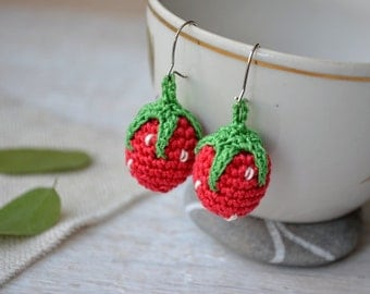 Earrings Strawberries, Sweet strawberry earring, Clip on earrings, Berry earrings, Summer spring jewelry, Girl tiny jewelry, Red  green