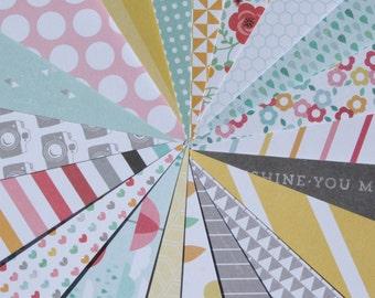 Hello Sunshine Scrapbook Paper, Scrapbooking, 6x6 Scrapbook Paper, Destash, Spring, Rain Drops, Yellow, Rainbows, Sunshine