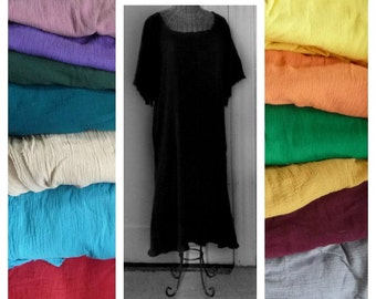 A-Line Sundress Colors or Black, White, Knee or Midi Cotton, House Beach Dress, Short Sleeve Gauze Cover Up Medium, Large, Plus Size