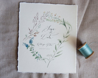 Botanical Save the Date with envelopes