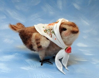 needle felted sparrow with vintage handkerchief shawl