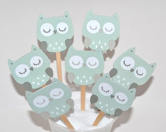 12 Owl Cupcake Toppers / Owl Baby Shower / Owl Party / Baby Shower / Woodland Toppers / Owl Birthday / Owl Decorations / Baby Shower Decor
