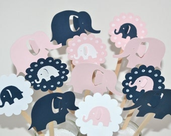 12 Pink & Navy Elephant Cupcake Toppers / Pink Elephant Baby Shower / Elephant Cupcake Toppers /  Pink Elephant Invitation