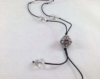 Clear Crystal Nylon necklace