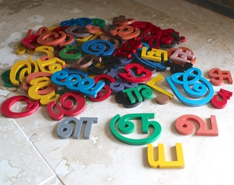Wooden Tamil letters - Tamil letters and symbols - Indian alphabet - Tamil alphabet - yoga decor - painted wood letters - India alphabet