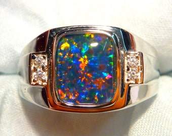 Mens Opal Ring Sterling Silver, Natural Opal Triplet. 10x8mm Rectangle. item 90635