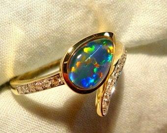 Opal Ring Ladies 14ct Yellow Gold & Diamond 9X6MM Teardrop Shape Triplet. item 100877.