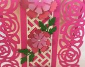 Beautiful fuchsia flower card - hot pink - roses - feminine card - trellis - delicate rose die cuts - roses on the lattice