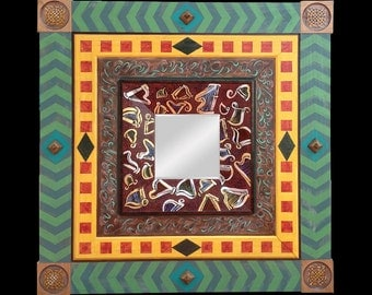 Decorative Framed Mirror with Celtic Harps