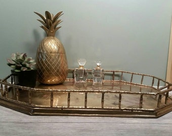 Large Brass Octagon Bamboo Tray