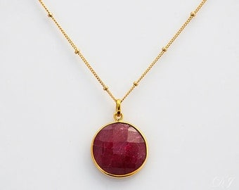 Dyed Ruby Pendant Necklace - Birthstone Necklace - Long Gemstone Necklace - Large Ruby Pendant - July Birthstone Necklace