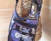 LOCAL DESIGN Handbag, Crossbody Purse, Purple Tropical Honu Deign, Made in Hawaii USA