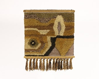 Mid Century Woven Wall Hanging / Fiber Art — Abstract landscape — Earthtones