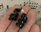 Black Swirl/Curled Earrings - Upcycled Vinyl Records - Vinyl Record Earrings - Rock Style Jewelry - Upcycled Earrings - Black Stud Earrings