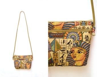 80s Tapestry Egyptian Pharaoh Small Crossbody Purse Handbag