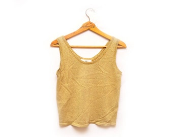 90s Gold Sparkly Sweater Tank Top Blouse Women's Small
