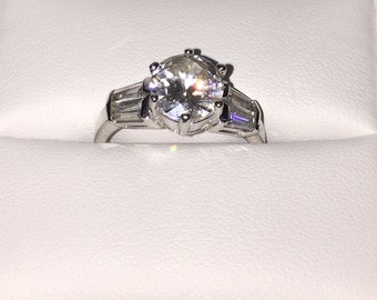 Size 7 Alternative Engagement Ring Elegant Sterling Crystal Solitaire Engagement Ring w Baguette Accent Stones Size 7