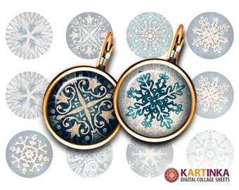 10mm 12mm 15mm size Printable Circle CHRISTMAS ORNAMENT Digital Download for Earrings Cufflinks Bracelets Rings Pendants Bottle Caps Jewelry