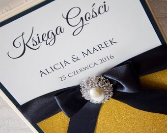 Wedding Guest Book - Personalized - black and gold - brooch / glitter