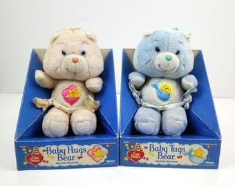Vintage Care Bears 1984 Baby Tugs Bear and Baby Hugs Bear in box