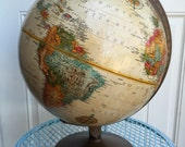 Vintage desk globe, Replogle World Classic Series 12 inch, metal base, spinning, raised relief, late 1970's-early '80's era