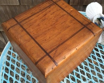 Vintage hinged wooden box, inlaid copper metal strips in lid, rustic storage decor, 1940's era