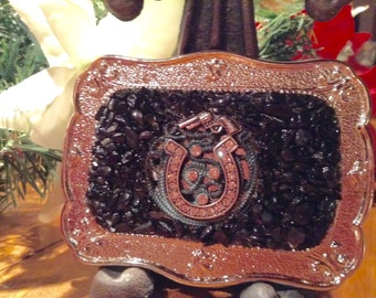 Western rhinestone pistol and black tourmaline embellished belt buckle