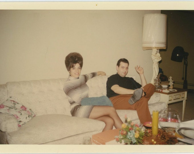 Couple on Couch, 1969 Kodacolor Vintage Photo Snapshot [64454]