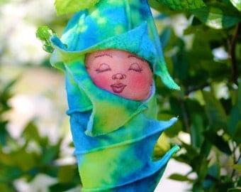 Tie Dye Sleeping Fairy Baby Fabric and Felt fantasy Art Doll Ornament