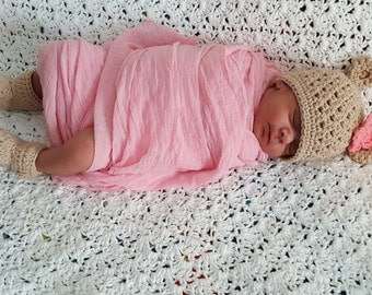 Baby Bear Outfit, Baby Girl Bear Set, Crochet Baby Hat and Shoe Set, Crochet Baby Girl Set, Bear Hat, Crochet Cotton Baby Set