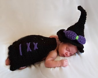 Crochet Baby Witch Costume, Crochet Baby Halloween Hat,  Crochet Baby Photo Prop, Halloween Witch Costume, Baby Halloween Costume
